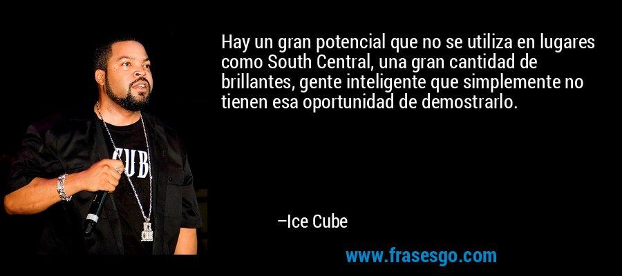 Hay un gran potencial que no se utiliza en lugares como South Central, una gran cantidad de brillantes, gente inteligente que simplemente no tienen esa oportunidad de demostrarlo. – Ice Cube