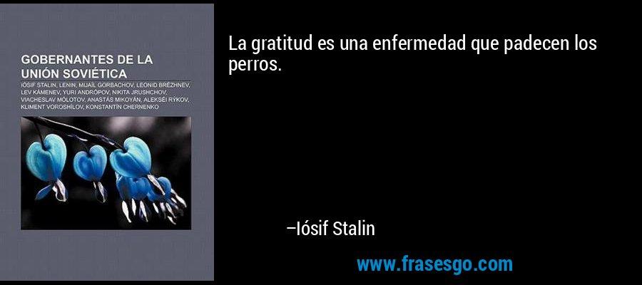 La gratitud es una enfermedad que padecen los perros. – Iósif Stalin