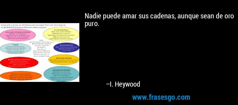 Nadie puede amar sus cadenas, aunque sean de oro puro. – I. Heywood