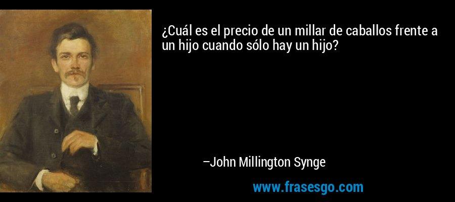 ¿Cuál es el precio de un millar de caballos frente a un hijo cuando sólo hay un hijo? – John Millington Synge