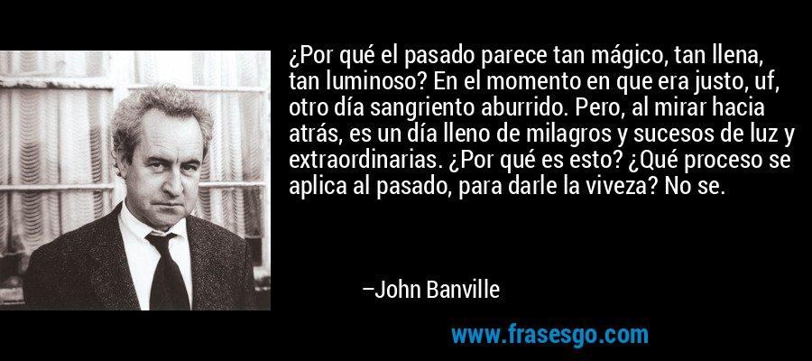 ¿Por qué el pasado parece tan mágico, tan llena, tan luminoso? En el momento en que era justo, uf, otro día sangriento aburrido. Pero, al mirar hacia atrás, es un día lleno de milagros y sucesos de luz y extraordinarias. ¿Por qué es esto? ¿Qué proceso se aplica al pasado, para darle la viveza? No se. – John Banville