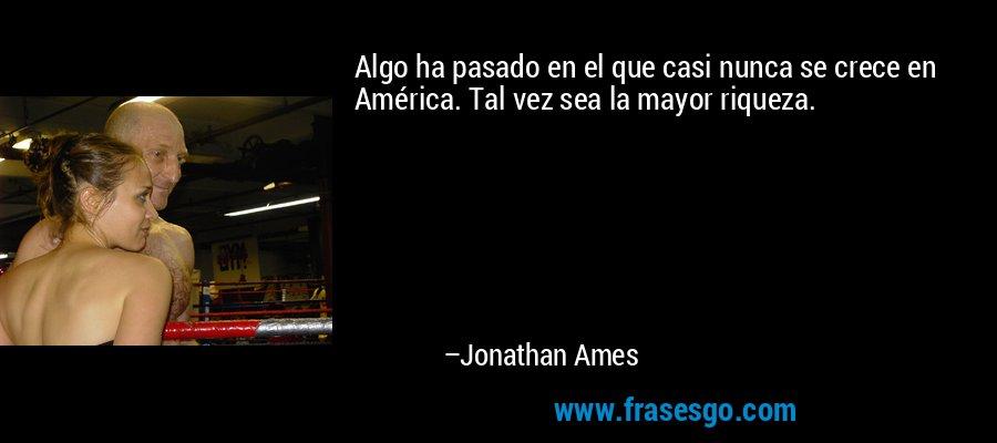 Algo ha pasado en el que casi nunca se crece en América. Tal vez sea la mayor riqueza. – Jonathan Ames