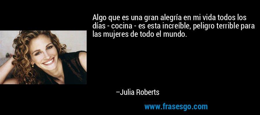 Algo que es una gran alegría en mi vida todos los días - cocina - es esta increíble, peligro terrible para las mujeres de todo el mundo. – Julia Roberts
