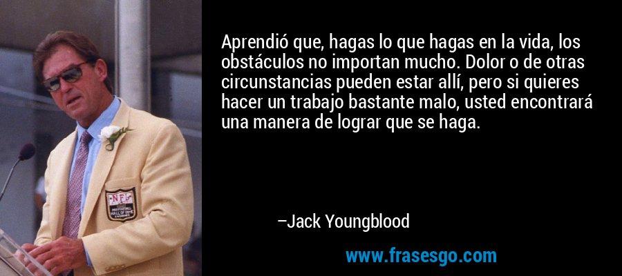 Aprendió que, hagas lo que hagas en la vida, los obstáculos no importan mucho. Dolor o de otras circunstancias pueden estar allí, pero si quieres hacer un trabajo bastante malo, usted encontrará una manera de lograr que se haga. – Jack Youngblood