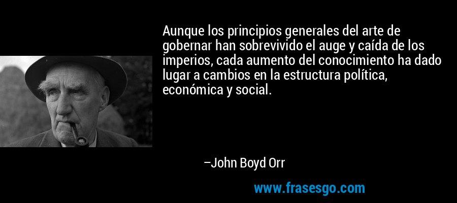 Aunque los principios generales del arte de gobernar han sobrevivido el auge y caída de los imperios, cada aumento del conocimiento ha dado lugar a cambios en la estructura política, económica y social. – John Boyd Orr