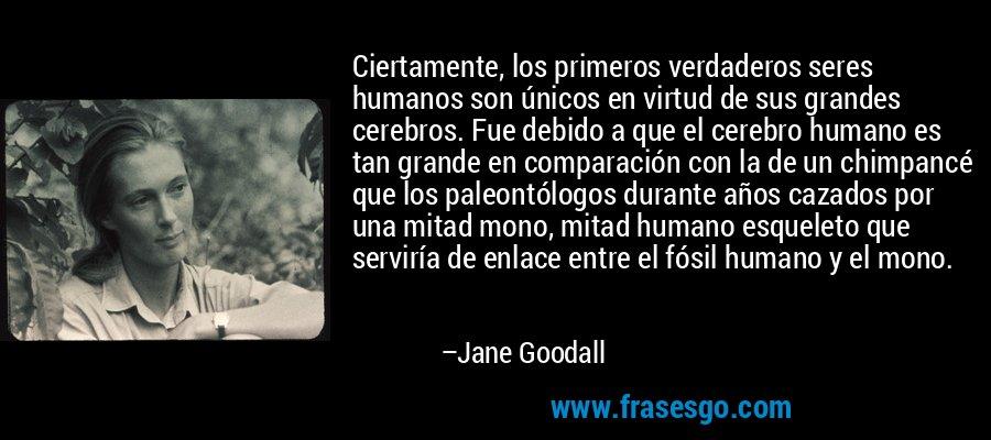 Ciertamente, los primeros verdaderos seres humanos son únicos en virtud de sus grandes cerebros. Fue debido a que el cerebro humano es tan grande en comparación con la de un chimpancé que los paleontólogos durante años cazados por una mitad mono, mitad humano esqueleto que serviría de enlace entre el fósil humano y el mono. – Jane Goodall