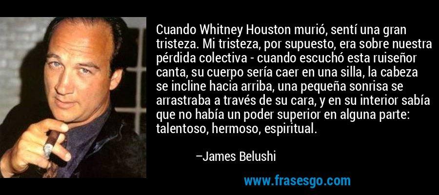 Cuando Whitney Houston murió, sentí una gran tristeza. Mi tristeza, por supuesto, era sobre nuestra pérdida colectiva - cuando escuchó esta ruiseñor canta, su cuerpo sería caer en una silla, la cabeza se incline hacia arriba, una pequeña sonrisa se arrastraba a través de su cara, y en su interior sabía que no había un poder superior en alguna parte: talentoso, hermoso, espiritual. – James Belushi