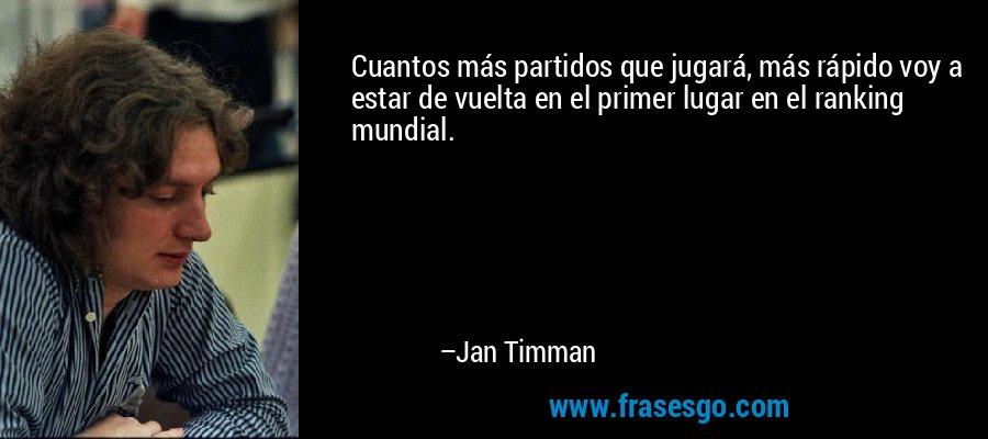 Cuantos más partidos que jugará, más rápido voy a estar de vuelta en el primer lugar en el ranking mundial. – Jan Timman
