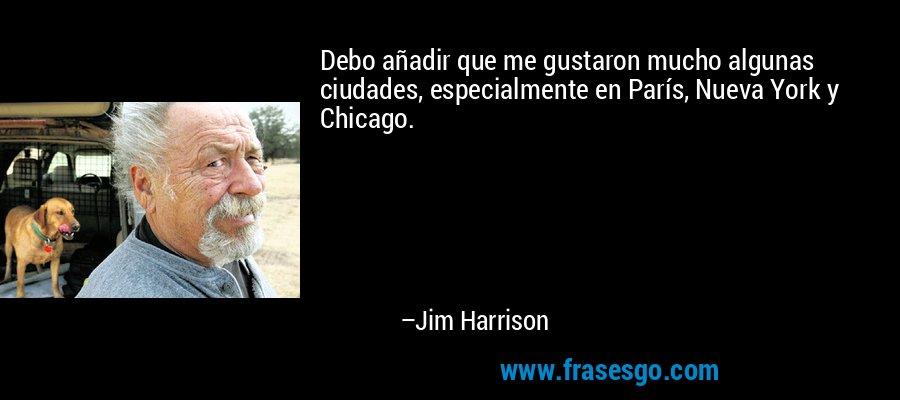 Debo añadir que me gustaron mucho algunas ciudades, especialmente en París, Nueva York y Chicago. – Jim Harrison