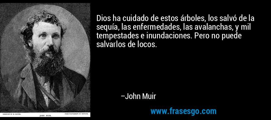 Dios ha cuidado de estos árboles, los salvó de la sequía, las enfermedades, las avalanchas, y mil tempestades e inundaciones. Pero no puede salvarlos de locos. – John Muir