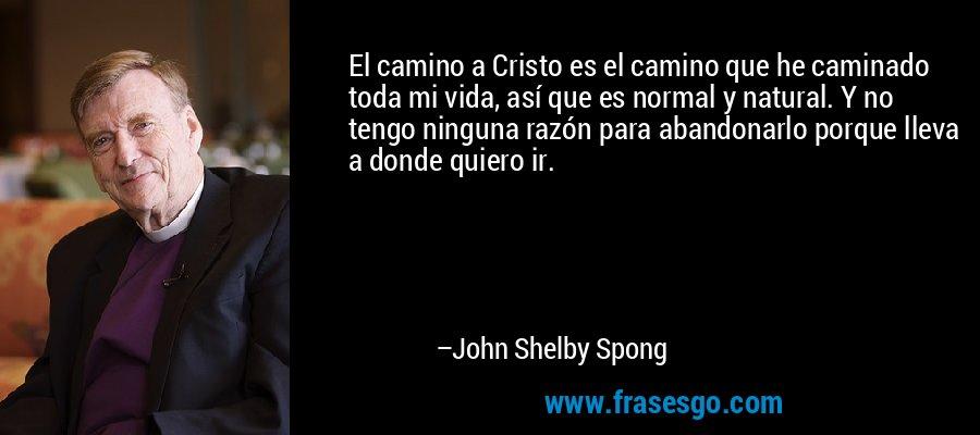 El camino a Cristo es el camino que he caminado toda mi vida, así que es normal y natural. Y no tengo ninguna razón para abandonarlo porque lleva a donde quiero ir. – John Shelby Spong