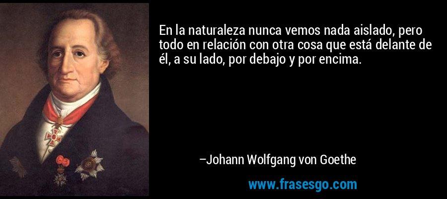 En la naturaleza nunca vemos nada aislado, pero todo en relación con otra cosa que está delante de él, a su lado, por debajo y por encima. – Johann Wolfgang von Goethe