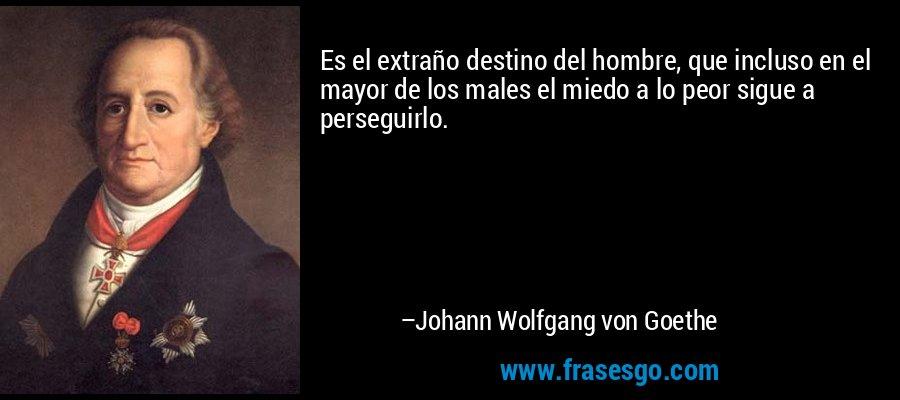 Es el extraño destino del hombre, que incluso en el mayor de los males el miedo a lo peor sigue a perseguirlo. – Johann Wolfgang von Goethe