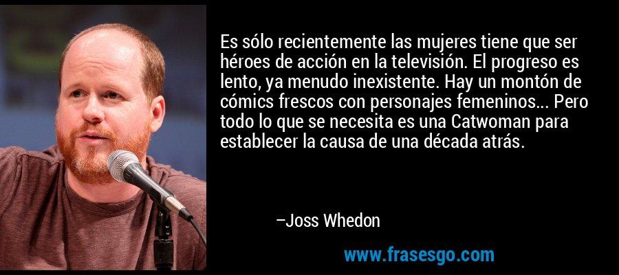 Es sólo recientemente las mujeres tiene que ser héroes de acción en la televisión. El progreso es lento, ya menudo inexistente. Hay un montón de cómics frescos con personajes femeninos... Pero todo lo que se necesita es una Catwoman para establecer la causa de una década atrás. – Joss Whedon