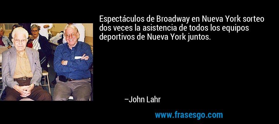 Espectáculos de Broadway en Nueva York sorteo dos veces la asistencia de todos los equipos deportivos de Nueva York juntos. – John Lahr