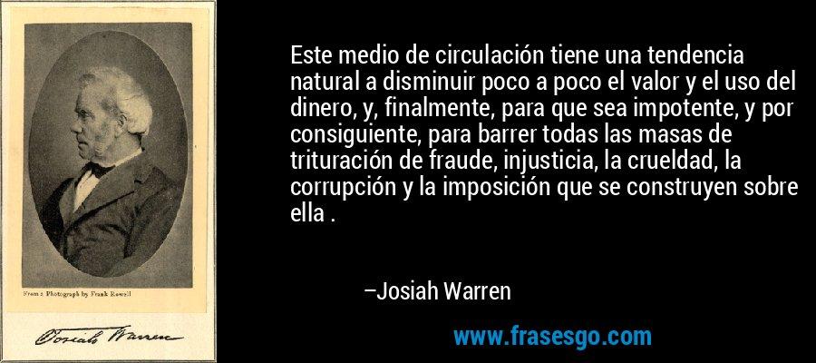 Este medio de circulación tiene una tendencia natural a disminuir poco a poco el valor y el uso del dinero, y, finalmente, para que sea impotente, y por consiguiente, para barrer todas las masas de trituración de fraude, injusticia, la crueldad, la corrupción y la imposición que se construyen sobre ella . – Josiah Warren