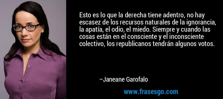 Esto es lo que la derecha tiene adentro, no hay escasez de los recursos naturales de la ignorancia, la apatía, el odio, el miedo. Siempre y cuando las cosas están en el consciente y el inconsciente colectivo, los republicanos tendrán algunos votos. – Janeane Garofalo