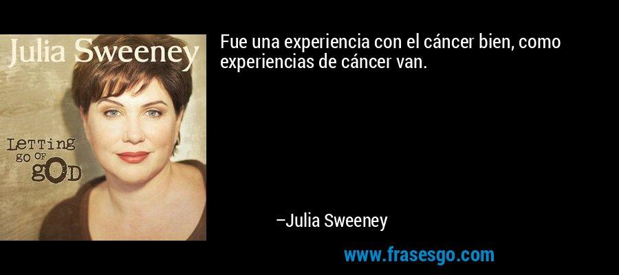 Fue una experiencia con el cáncer bien, como experiencias de cáncer van. – Julia Sweeney