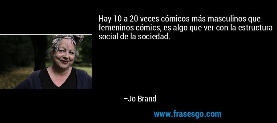 Hay 10 a 20 veces cómicos más masculinos que femeninos cómics, es algo que ver con la estructura social de la sociedad. – Jo Brand