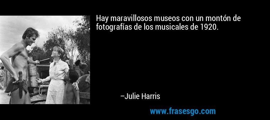 Hay maravillosos museos con un montón de fotografías de los musicales de 1920. – Julie Harris