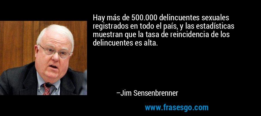 Hay más de 500.000 delincuentes sexuales registrados en todo el país, y las estadísticas muestran que la tasa de reincidencia de los delincuentes es alta. – Jim Sensenbrenner
