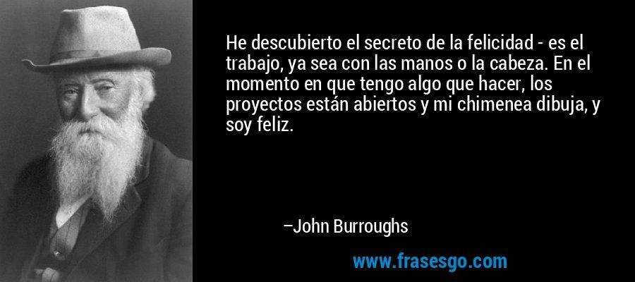 He descubierto el secreto de la felicidad - es el trabajo, ya sea con las manos o la cabeza. En el momento en que tengo algo que hacer, los proyectos están abiertos y mi chimenea dibuja, y soy feliz. – John Burroughs