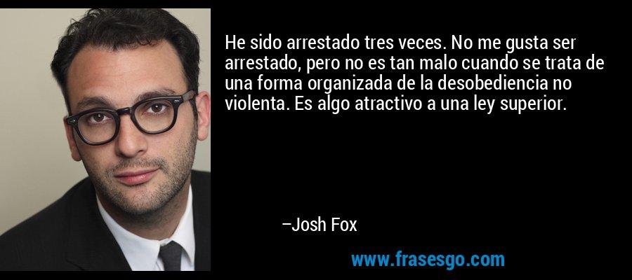 He sido arrestado tres veces. No me gusta ser arrestado, pero no es tan malo cuando se trata de una forma organizada de la desobediencia no violenta. Es algo atractivo a una ley superior. – Josh Fox