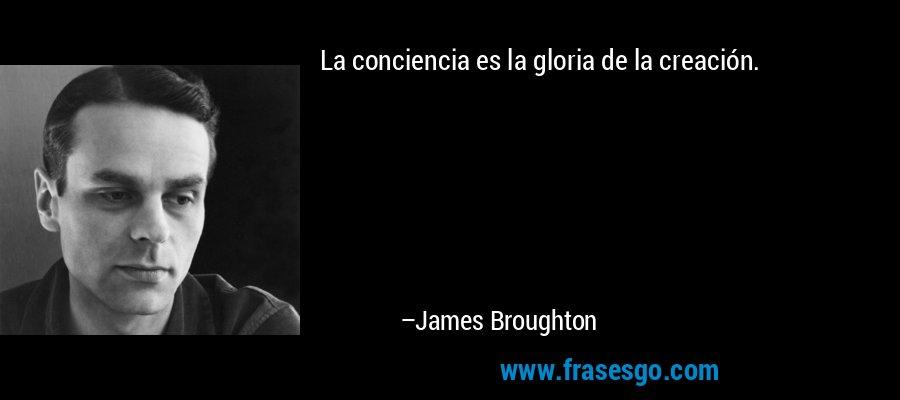 La conciencia es la gloria de la creación. – James Broughton