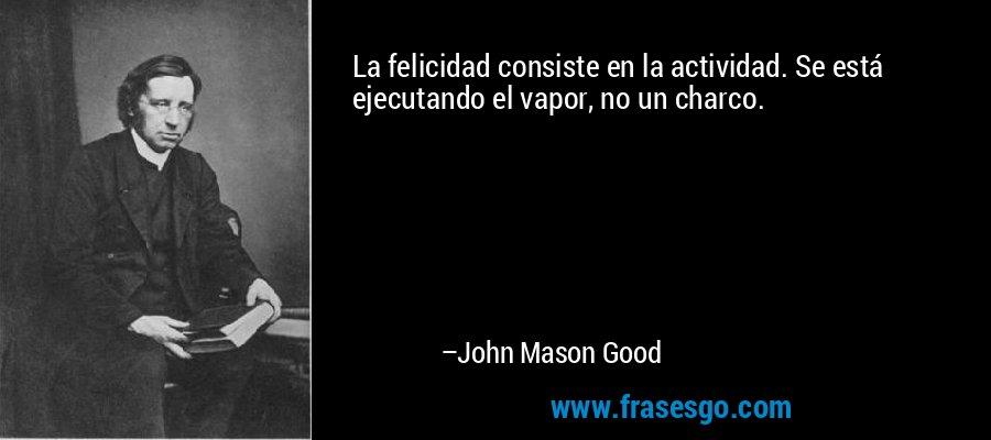 La felicidad consiste en la actividad. Se está ejecutando el vapor, no un charco. – John Mason Good