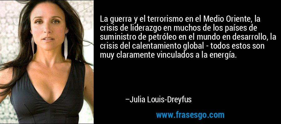 La guerra y el terrorismo en el Medio Oriente, la crisis de liderazgo en muchos de los países de suministro de petróleo en el mundo en desarrollo, la crisis del calentamiento global - todos estos son muy claramente vinculados a la energía. – Julia Louis-Dreyfus