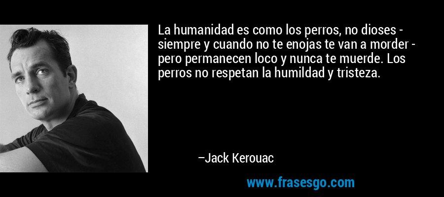 La humanidad es como los perros, no dioses - siempre y cuando no te enojas te van a morder - pero permanecen loco y nunca te muerde. Los perros no respetan la humildad y tristeza. – Jack Kerouac