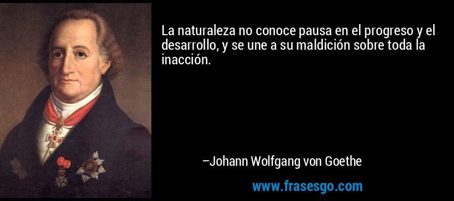 La naturaleza no conoce pausa en el progreso y el desarrollo, y se une a su maldición sobre toda la inacción. – Johann Wolfgang von Goethe