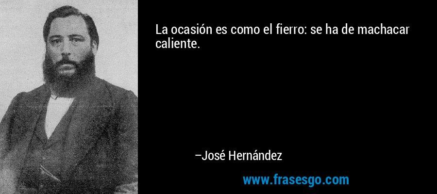 La ocasión es como el fierro: se ha de machacar caliente. – José Hernández