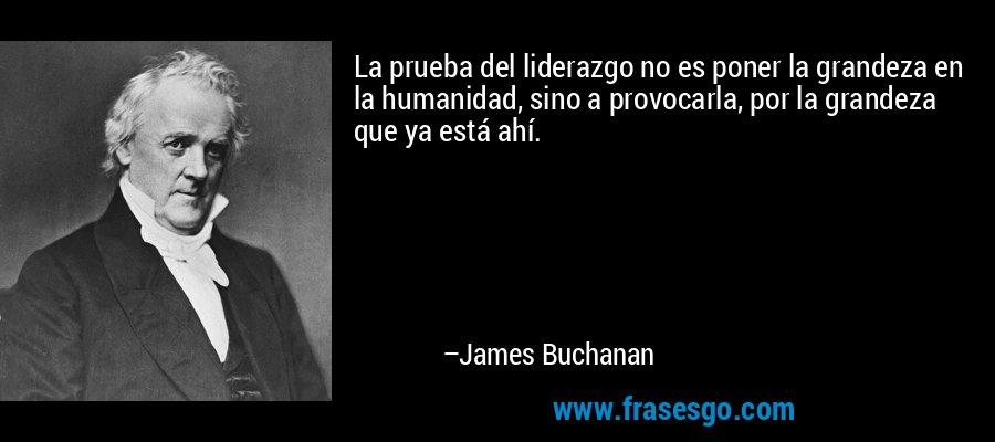 La prueba del liderazgo no es poner la grandeza en la humanidad, sino a provocarla, por la grandeza que ya está ahí. – James Buchanan