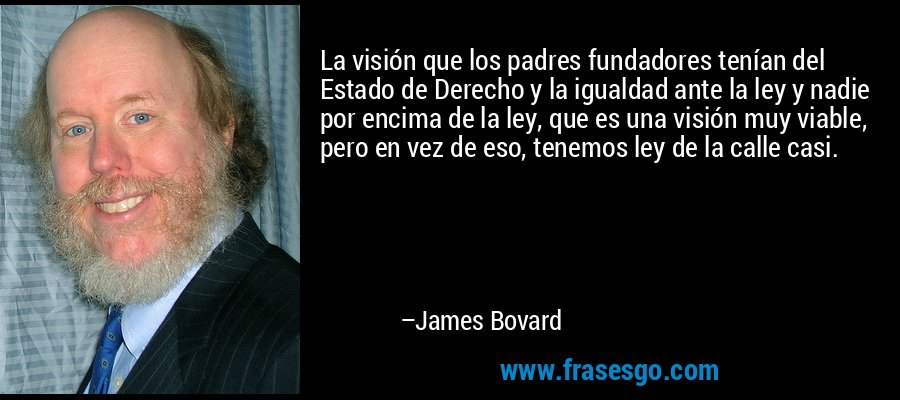 La visión que los padres fundadores tenían del Estado de Derecho y la igualdad ante la ley y nadie por encima de la ley, que es una visión muy viable, pero en vez de eso, tenemos ley de la calle casi. – James Bovard