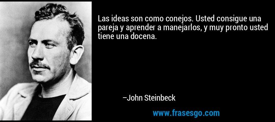 Las ideas son como conejos. Usted consigue una pareja y aprender a manejarlos, y muy pronto usted tiene una docena. – John Steinbeck