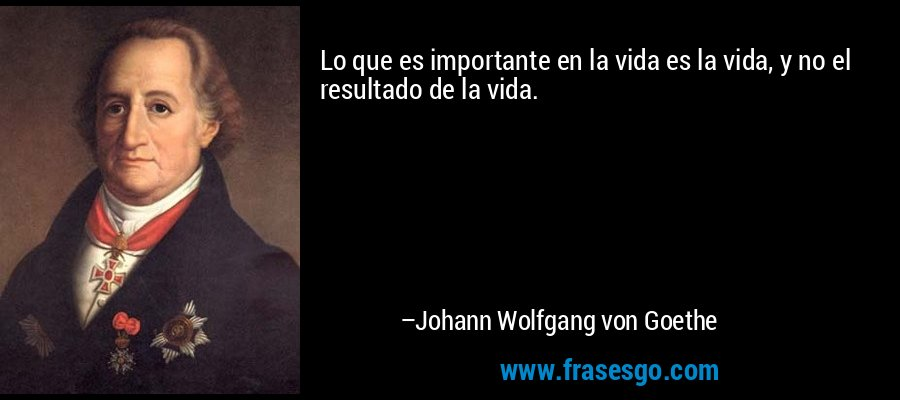 Lo que es importante en la vida es la vida, y no el resultado de la vida. – Johann Wolfgang von Goethe