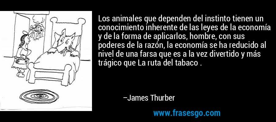 Los animales que dependen del instinto tienen un conocimiento inherente de las leyes de la economía y de la forma de aplicarlos, hombre, con sus poderes de la razón, la economía se ha reducido al nivel de una farsa que es a la vez divertido y más trágico que La ruta del tabaco . – James Thurber