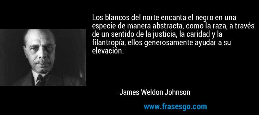 Los blancos del norte encanta el negro en una especie de manera abstracta, como la raza, a través de un sentido de la justicia, la caridad y la filantropía, ellos generosamente ayudar a su elevación. – James Weldon Johnson