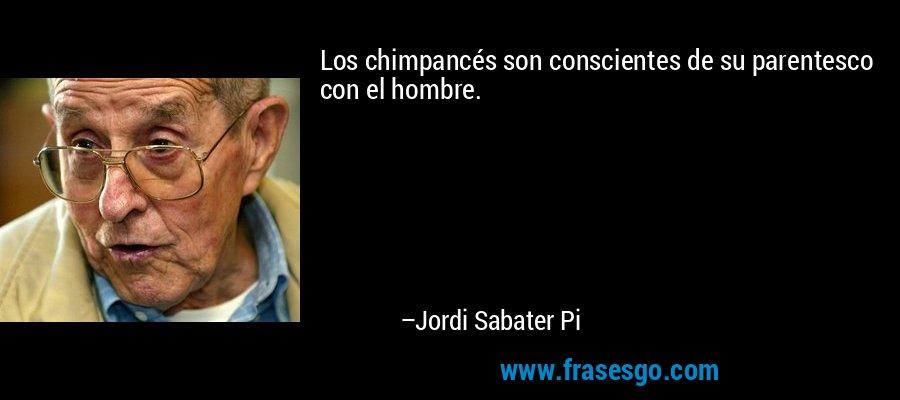 Los chimpancés son conscientes de su parentesco con el hombre. – Jordi Sabater Pi