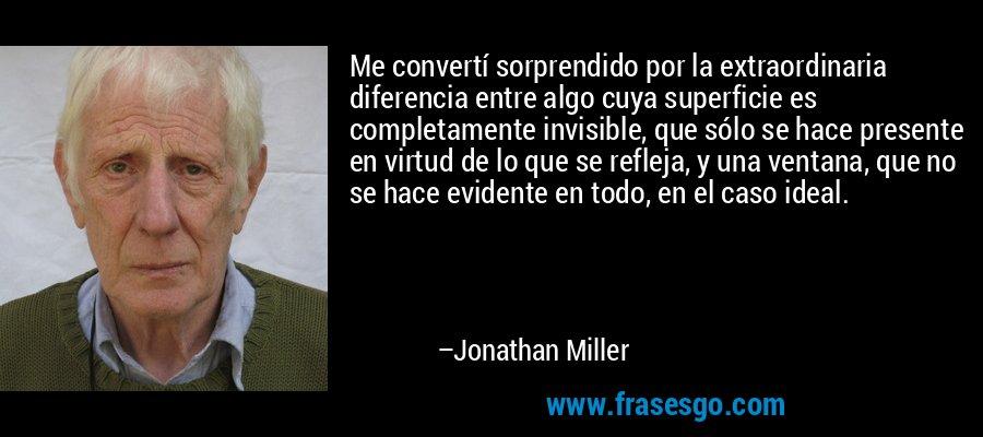 Me convertí sorprendido por la extraordinaria diferencia entre algo cuya superficie es completamente invisible, que sólo se hace presente en virtud de lo que se refleja, y una ventana, que no se hace evidente en todo, en el caso ideal. – Jonathan Miller