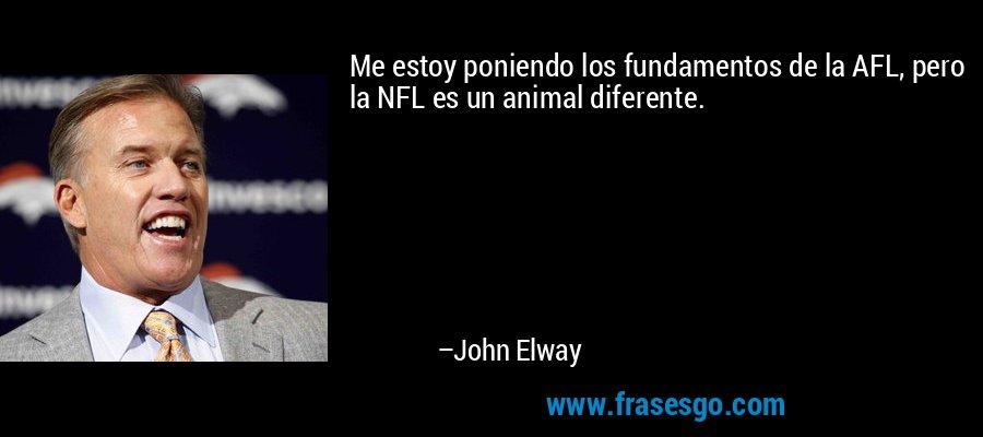 Me estoy poniendo los fundamentos de la AFL, pero la NFL es un animal diferente. – John Elway