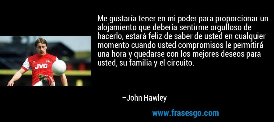 Me gustaría tener en mi poder para proporcionar un alojamiento que debería sentirme orgulloso de hacerlo, estará feliz de saber de usted en cualquier momento cuando usted compromisos le permitirá una hora y quedarse con los mejores deseos para usted, su familia y el circuito. – John Hawley