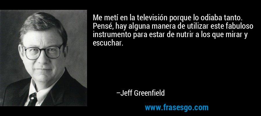 Me metí en la televisión porque lo odiaba tanto. Pensé, hay alguna manera de utilizar este fabuloso instrumento para estar de nutrir a los que mirar y escuchar. – Jeff Greenfield