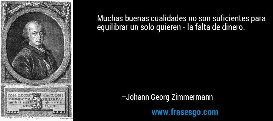 Muchas buenas cualidades no son suficientes para equilibrar un solo quieren - la falta de dinero. – Johann Georg Zimmermann