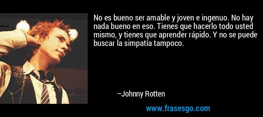 No es bueno ser amable y joven e ingenuo. No hay nada bueno en eso. Tienes que hacerlo todo usted mismo, y tienes que aprender rápido. Y no se puede buscar la simpatía tampoco. – Johnny Rotten
