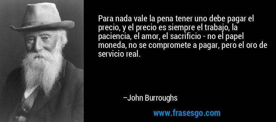 Para nada vale la pena tener uno debe pagar el precio, y el precio es siempre el trabajo, la paciencia, el amor, el sacrificio - no el papel moneda, no se compromete a pagar, pero el oro de servicio real. – John Burroughs