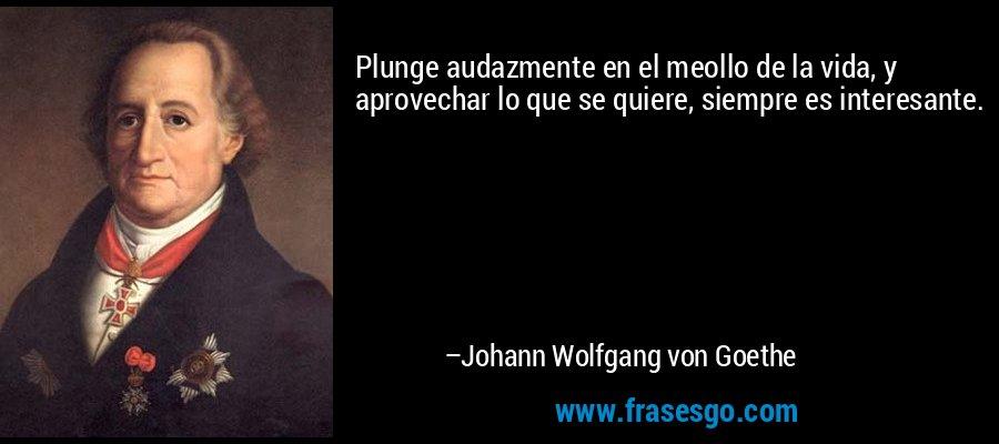 Plunge audazmente en el meollo de la vida, y aprovechar lo que se quiere, siempre es interesante. – Johann Wolfgang von Goethe