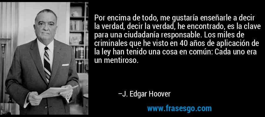 Por encima de todo, me gustaría enseñarle a decir la verdad, decir la verdad, he encontrado, es la clave para una ciudadanía responsable. Los miles de criminales que he visto en 40 años de aplicación de la ley han tenido una cosa en común: Cada uno era un mentiroso. – J. Edgar Hoover