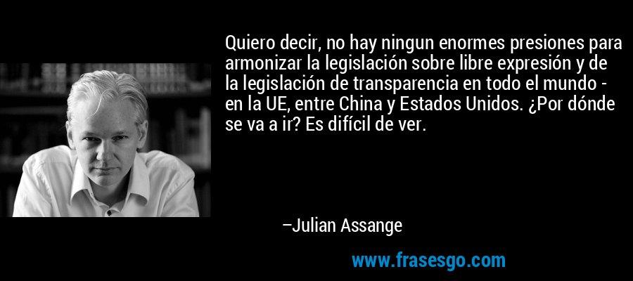 Quiero decir, no hay ningun enormes presiones para armonizar la legislación sobre libre expresión y de la legislación de transparencia en todo el mundo - en la UE, entre China y Estados Unidos. ¿Por dónde se va a ir? Es difícil de ver. – Julian Assange